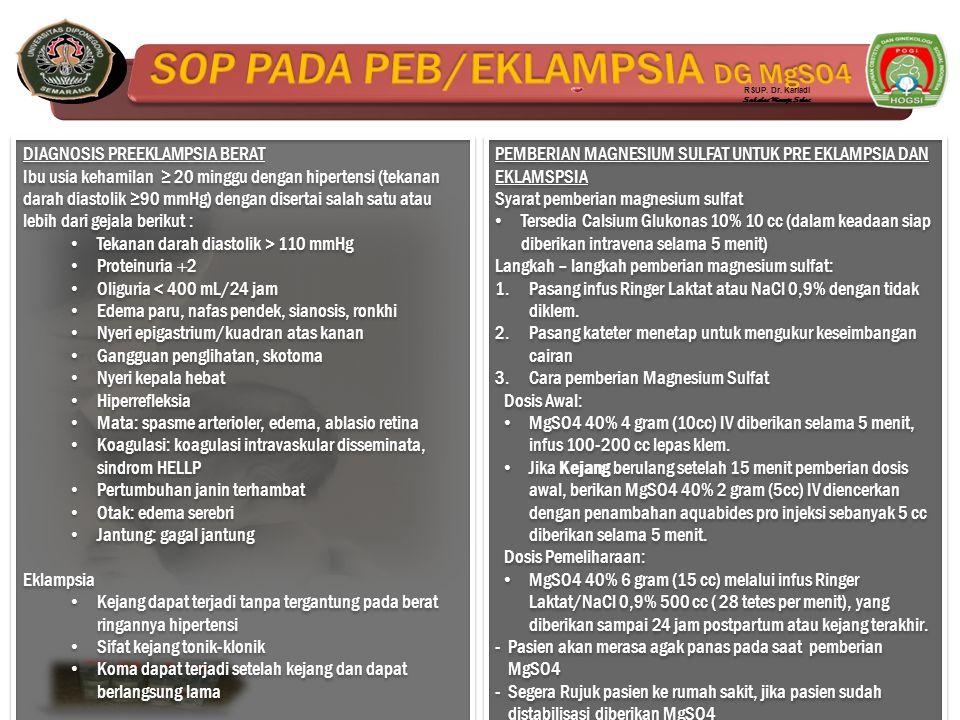 SOP PADA PEB/EKLAMPSIA DG MgSO4