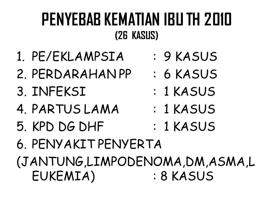 PENYEBAB KEMATIAN IBU TH 2010 (26 KASUS)