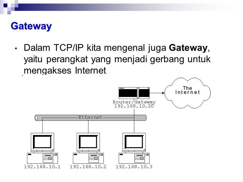 Gateway Dalam TCP/IP kita mengenal juga Gateway, yaitu perangkat yang menjadi gerbang untuk mengakses Internet.