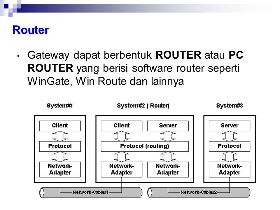 Router Gateway dapat berbentuk ROUTER atau PC ROUTER yang berisi software router seperti WinGate, Win Route dan lainnya.