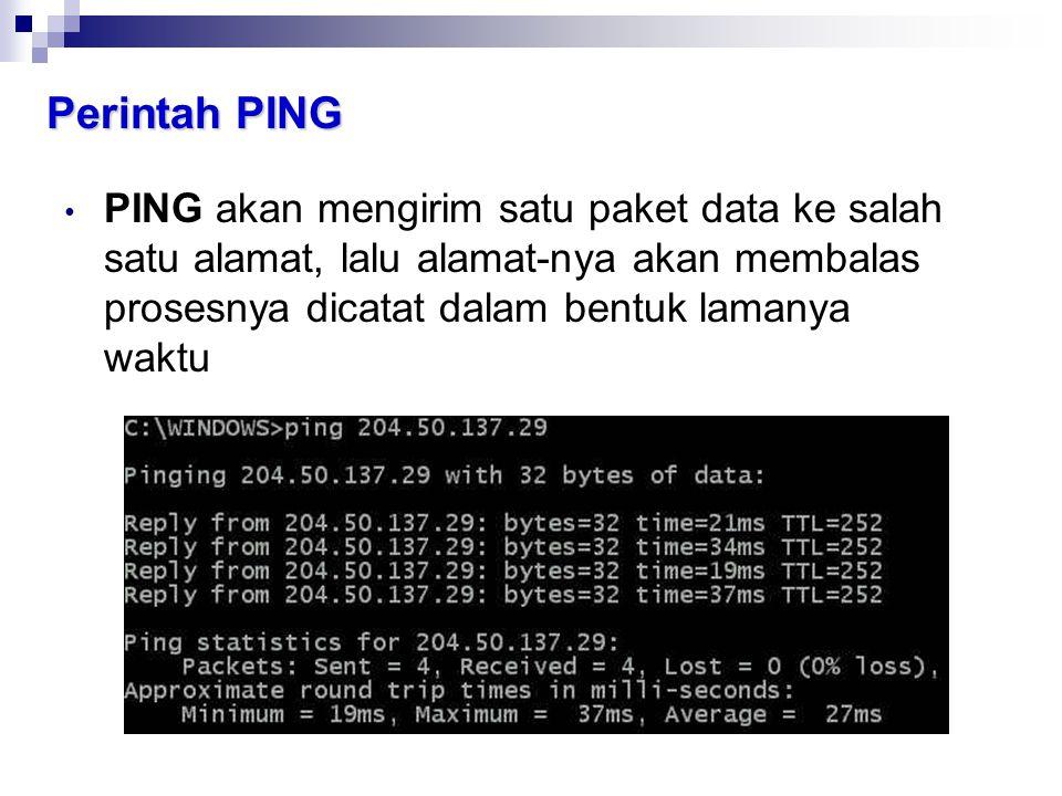 Perintah PING PING akan mengirim satu paket data ke salah satu alamat, lalu alamat-nya akan membalas prosesnya dicatat dalam bentuk lamanya waktu.