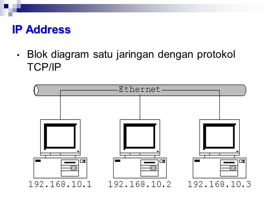 IP Address Blok diagram satu jaringan dengan protokol TCP/IP