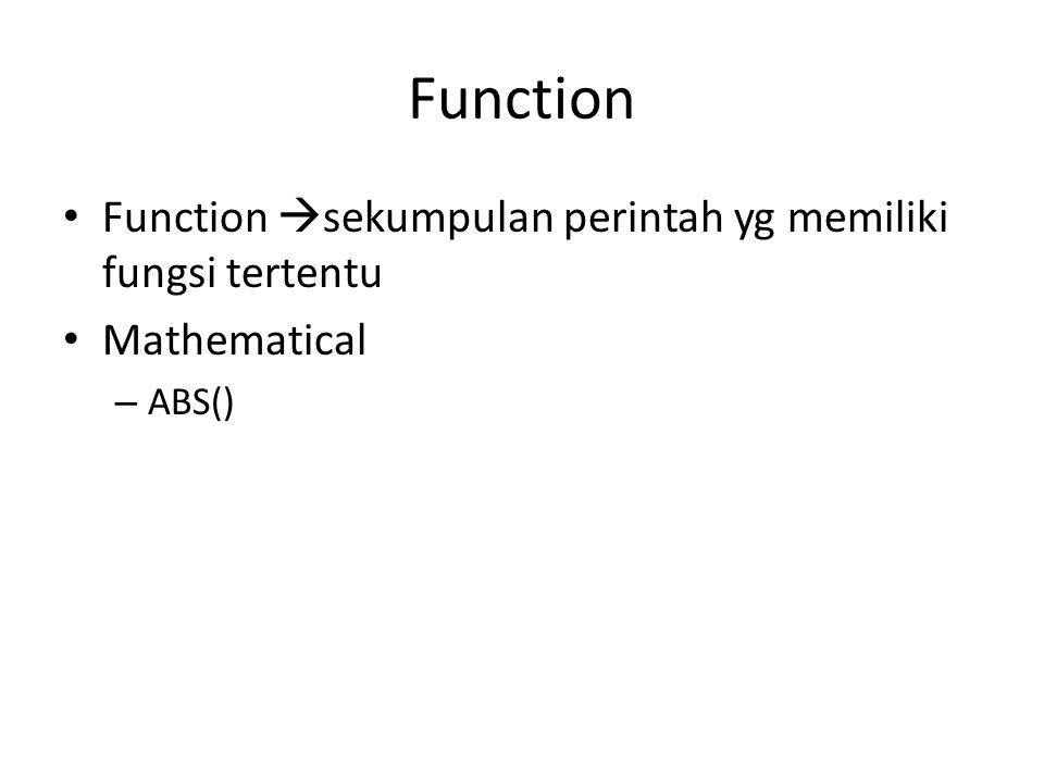 Function Function sekumpulan perintah yg memiliki fungsi tertentu