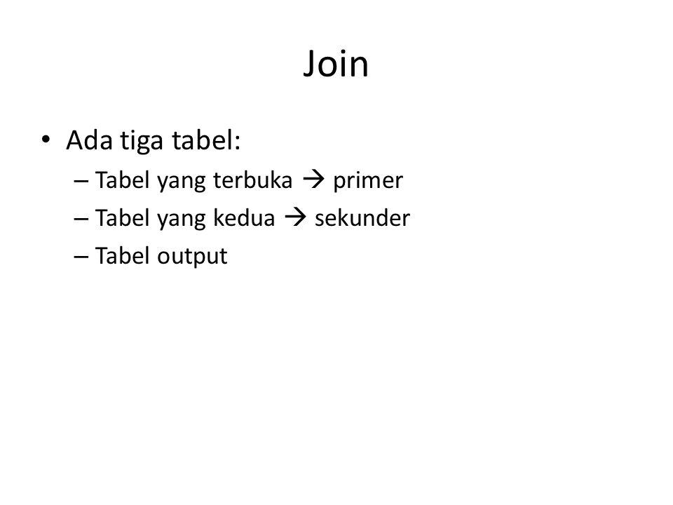 Join Ada tiga tabel: Tabel yang terbuka  primer