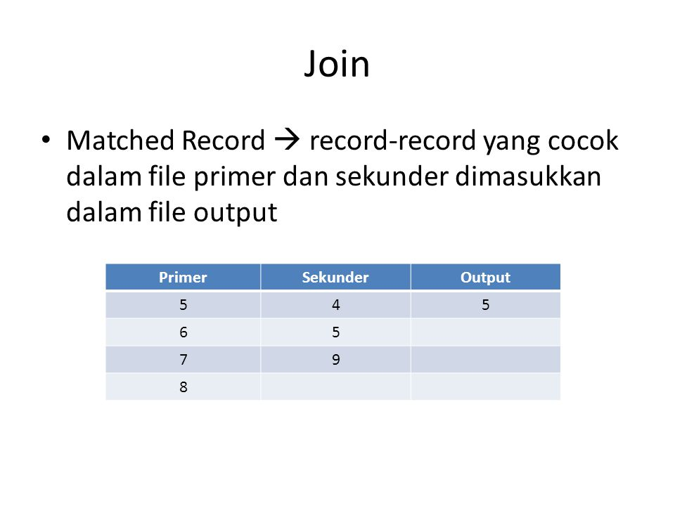 Join Matched Record  record-record yang cocok dalam file primer dan sekunder dimasukkan dalam file output.