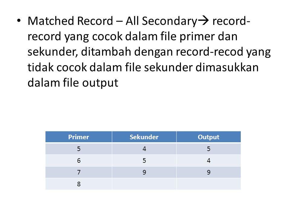 Matched Record – All Secondary record-record yang cocok dalam file primer dan sekunder, ditambah dengan record-recod yang tidak cocok dalam file sekunder dimasukkan dalam file output