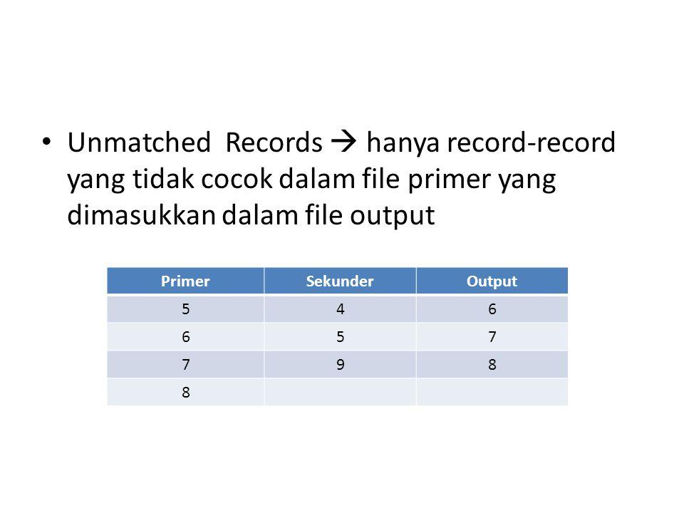 Unmatched Records  hanya record-record yang tidak cocok dalam file primer yang dimasukkan dalam file output