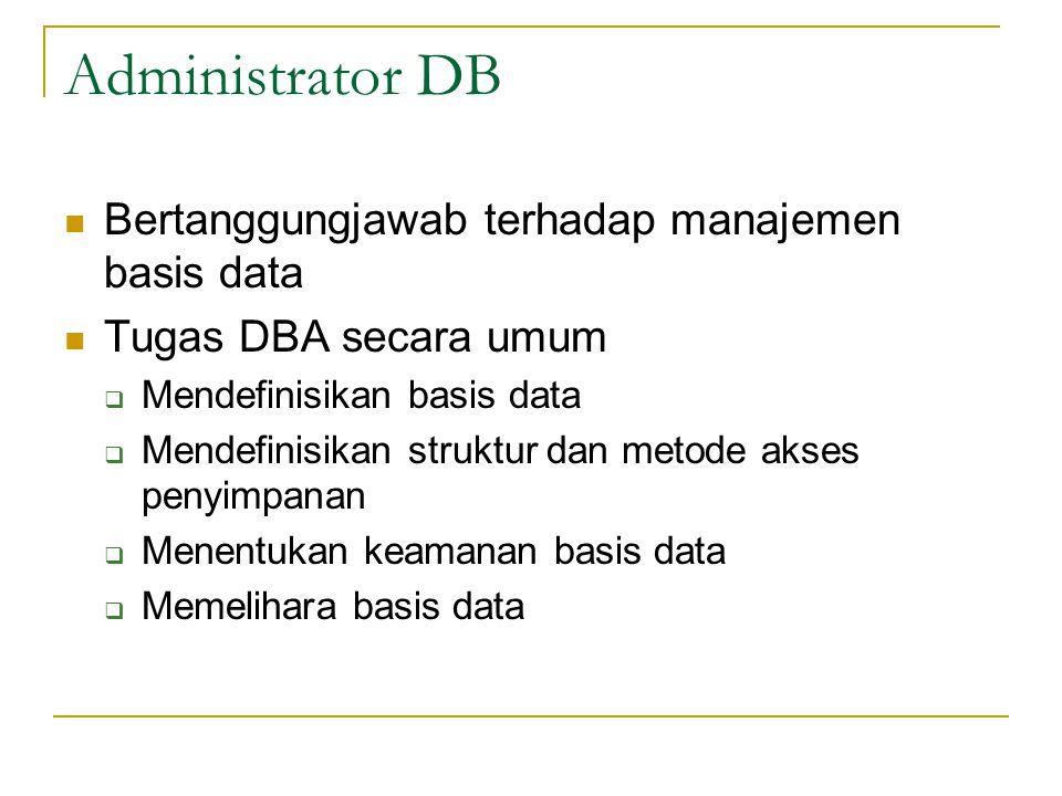 Administrator DB Bertanggungjawab terhadap manajemen basis data