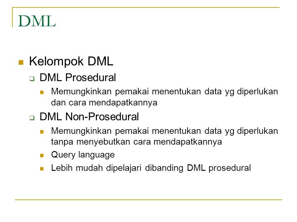 DML Kelompok DML DML Prosedural DML Non-Prosedural