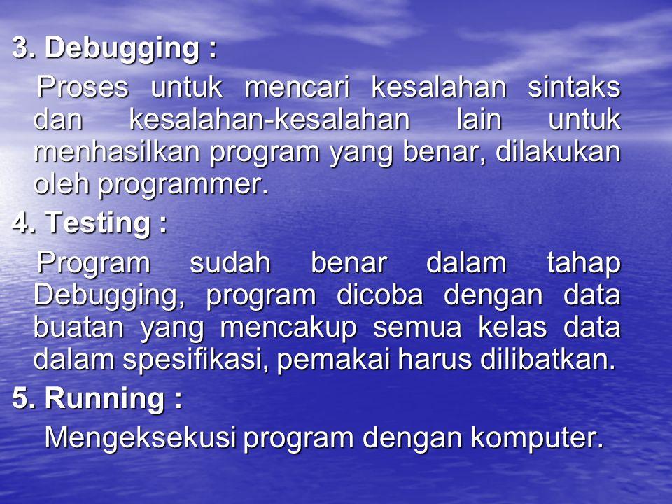 3. Debugging : Proses untuk mencari kesalahan sintaks dan kesalahan-kesalahan lain untuk menhasilkan program yang benar, dilakukan oleh programmer.
