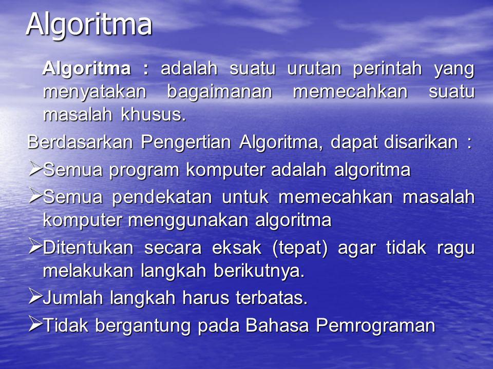 Algoritma Algoritma : adalah suatu urutan perintah yang menyatakan bagaimanan memecahkan suatu masalah khusus.