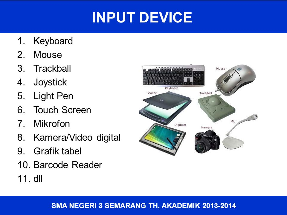 INPUT DEVICE Keyboard Mouse Trackball Joystick Light Pen Touch Screen