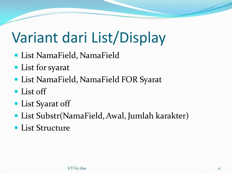 Variant dari List/Display