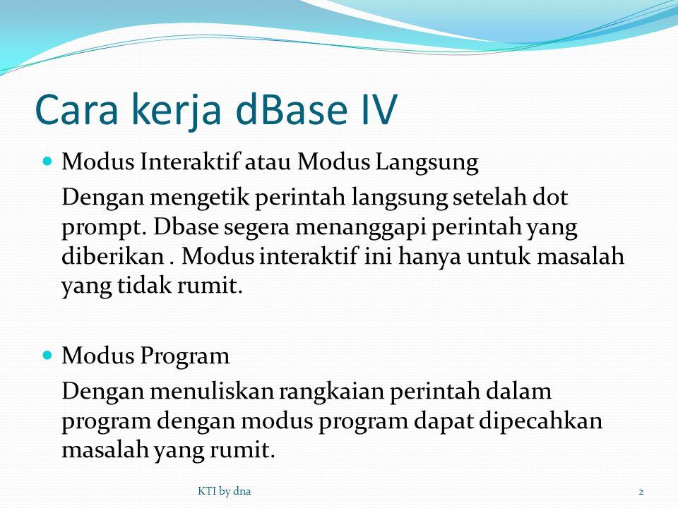 Cara kerja dBase IV Modus Interaktif atau Modus Langsung