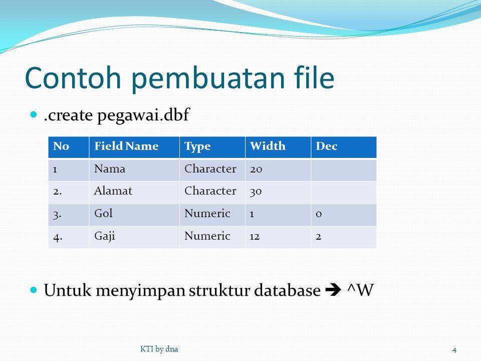Contoh pembuatan file .create pegawai.dbf