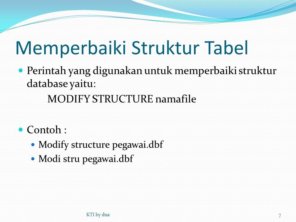 Memperbaiki Struktur Tabel