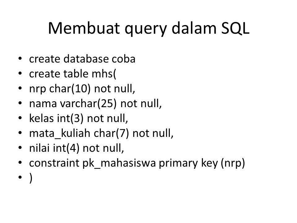 Membuat query dalam SQL
