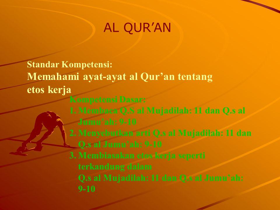 AL QUR'AN Memahami ayat-ayat al Qur'an tentang etos kerja