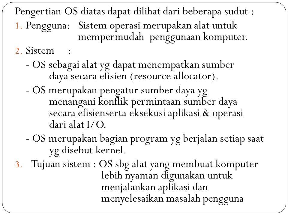 Pengertian OS diatas dapat dilihat dari beberapa sudut :