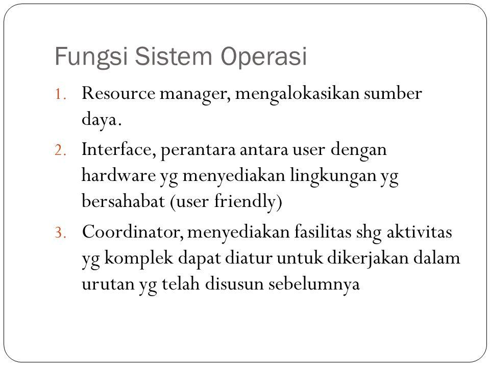Fungsi Sistem Operasi Resource manager, mengalokasikan sumber daya.