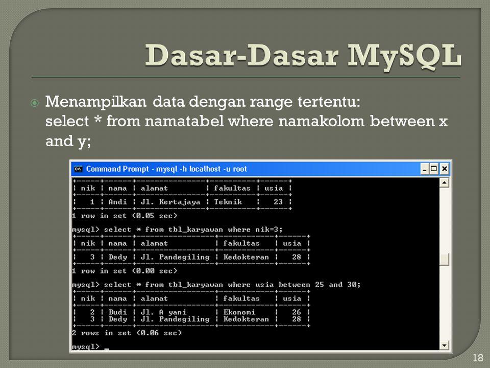 Dasar-Dasar MySQL Menampilkan data dengan range tertentu: