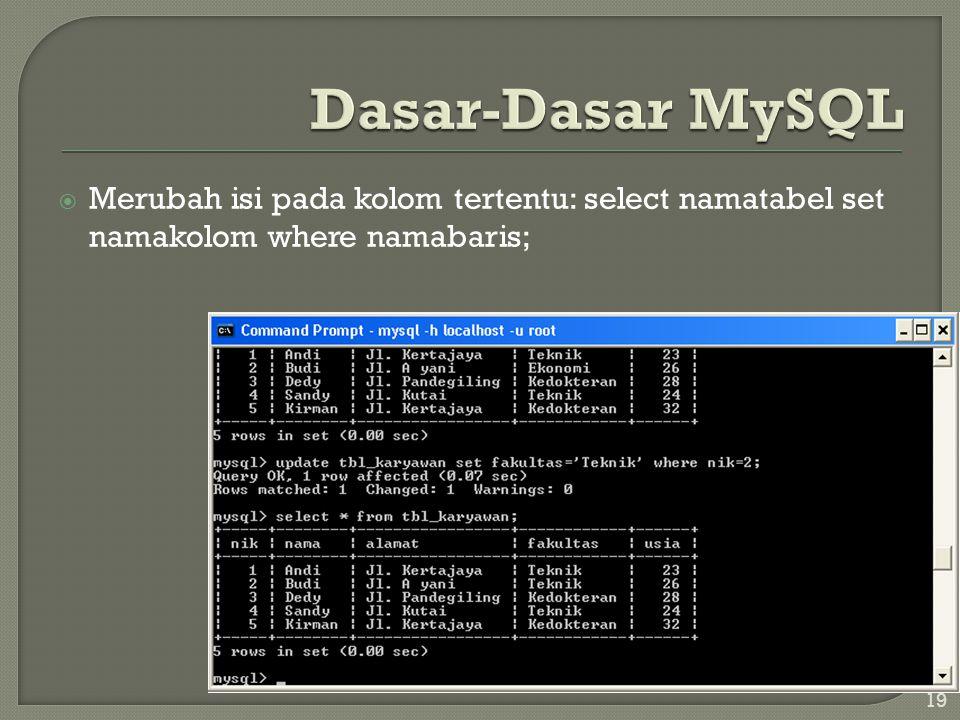 Dasar-Dasar MySQL Merubah isi pada kolom tertentu: select namatabel set namakolom where namabaris;