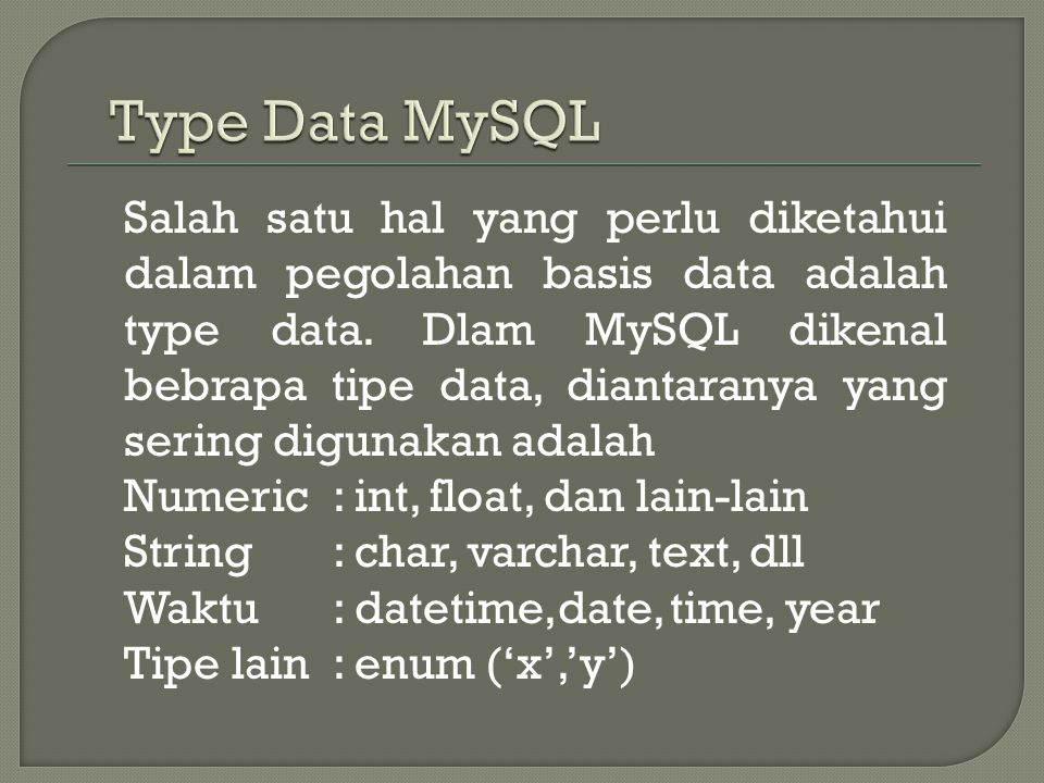 Type Data MySQL
