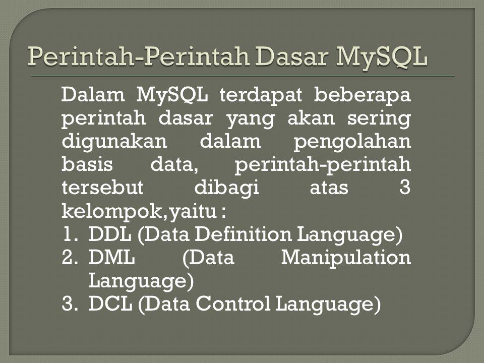 Perintah-Perintah Dasar MySQL