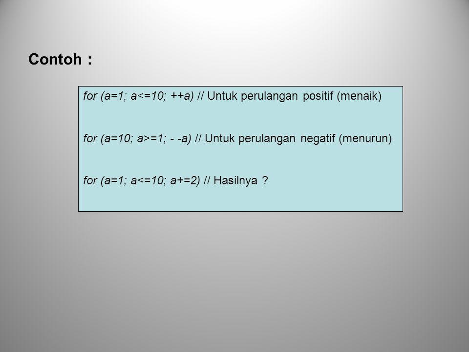 Contoh : for (a=1; a<=10; ++a) // Untuk perulangan positif (menaik)