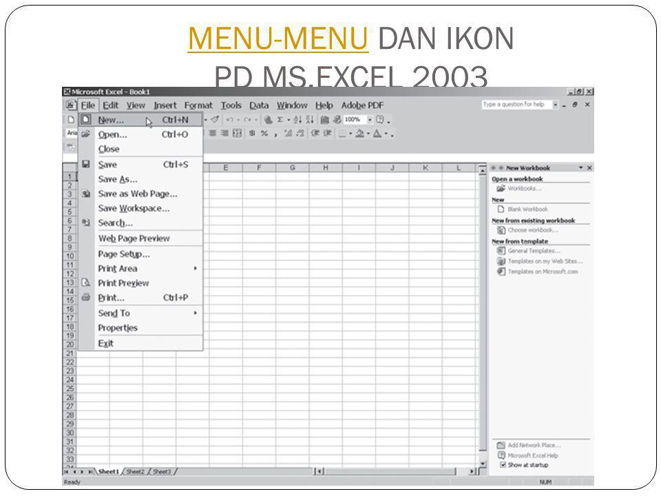 MENU-MENU DAN IKON PD MS.EXCEL 2003