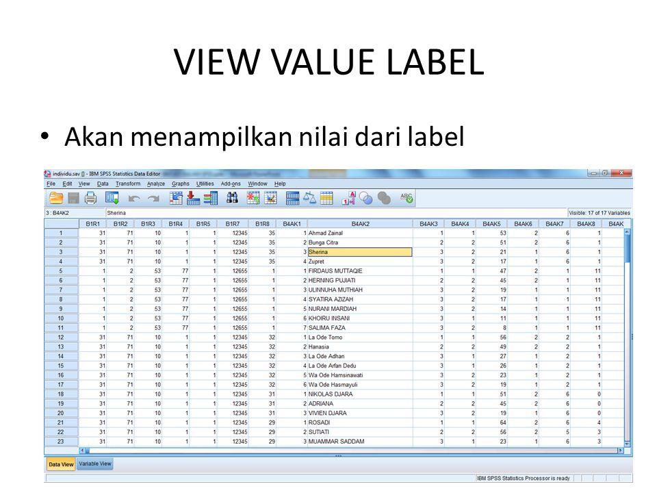 VIEW VALUE LABEL Akan menampilkan nilai dari label