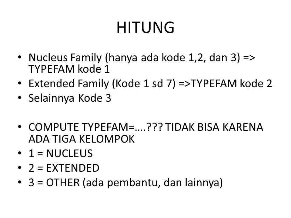 HITUNG Nucleus Family (hanya ada kode 1,2, dan 3) => TYPEFAM kode 1