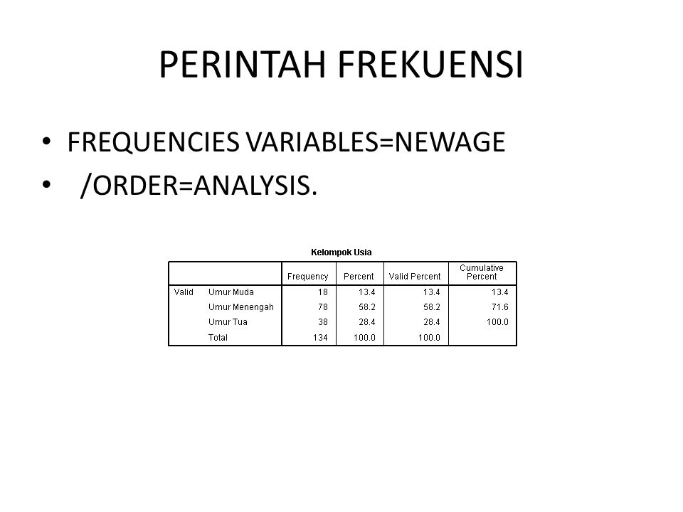 PERINTAH FREKUENSI FREQUENCIES VARIABLES=NEWAGE /ORDER=ANALYSIS.