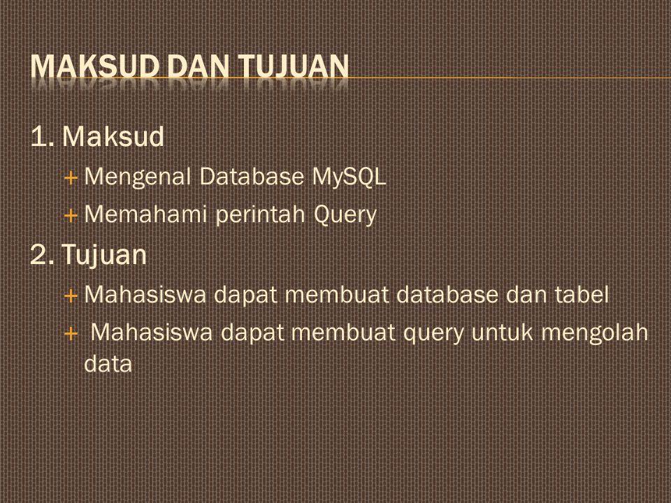 MAKSUD DAN TUJUAN 1. Maksud 2. Tujuan Mengenal Database MySQL