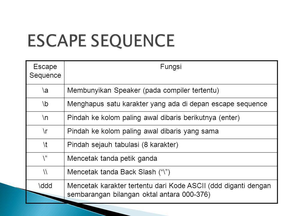ESCAPE SEQUENCE Escape Sequence Fungsi \a