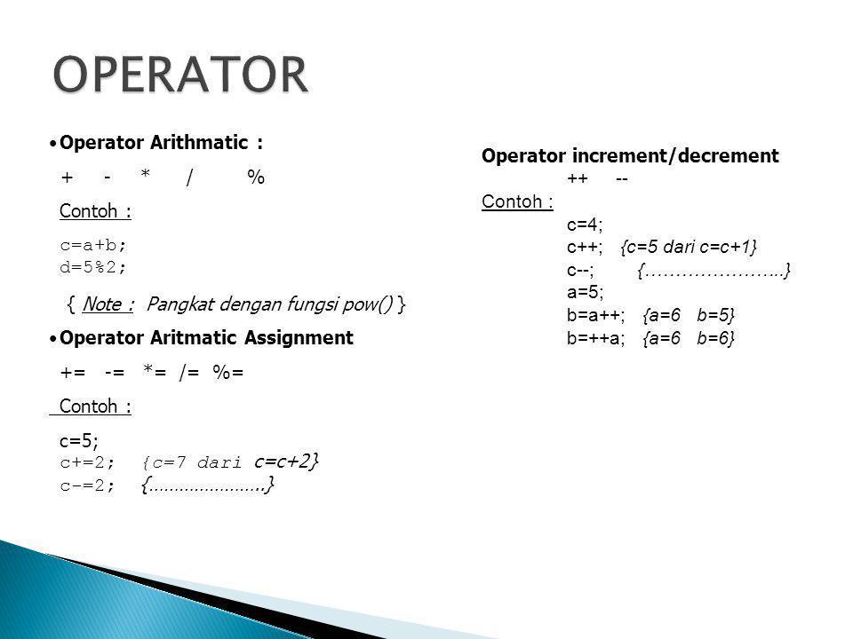 OPERATOR Operator Arithmatic : + - * / % Operator increment/decrement