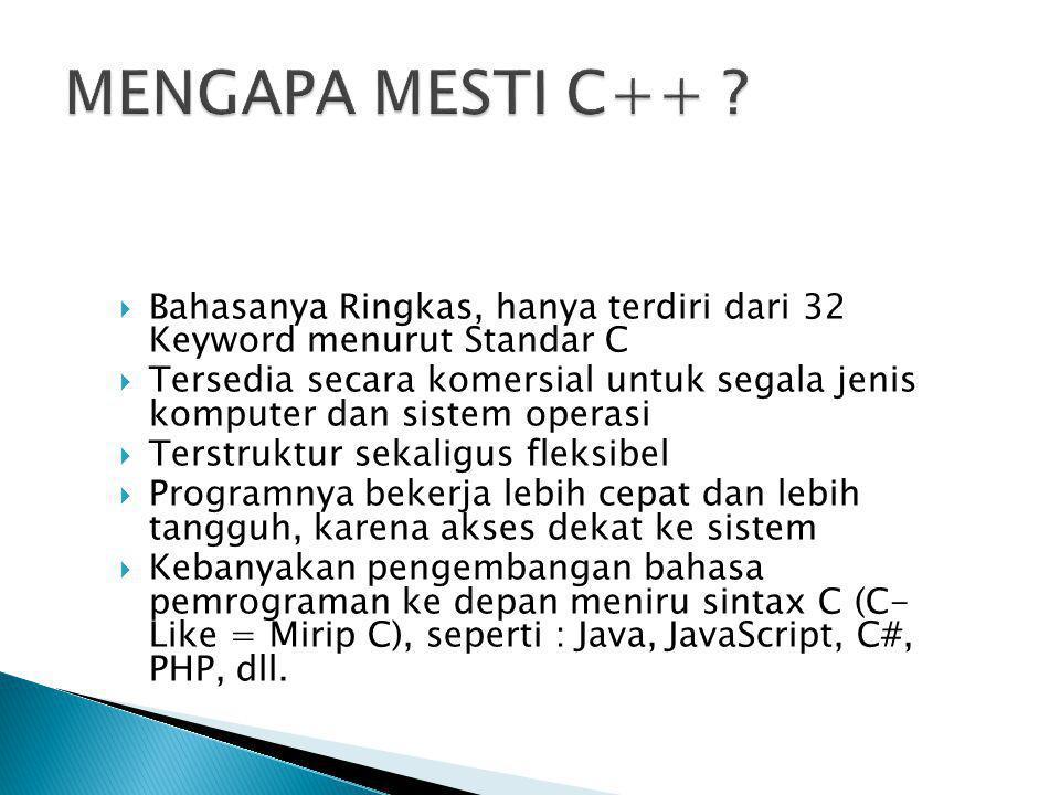 MENGAPA MESTI C++ Bahasanya Ringkas, hanya terdiri dari 32 Keyword menurut Standar C.