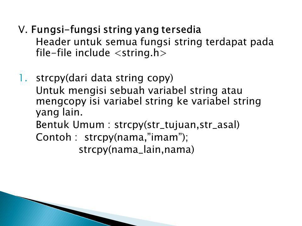 V. Fungsi-fungsi string yang tersedia