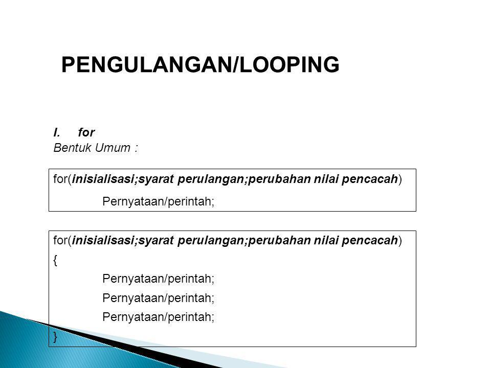 PENGULANGAN/LOOPING for Bentuk Umum :