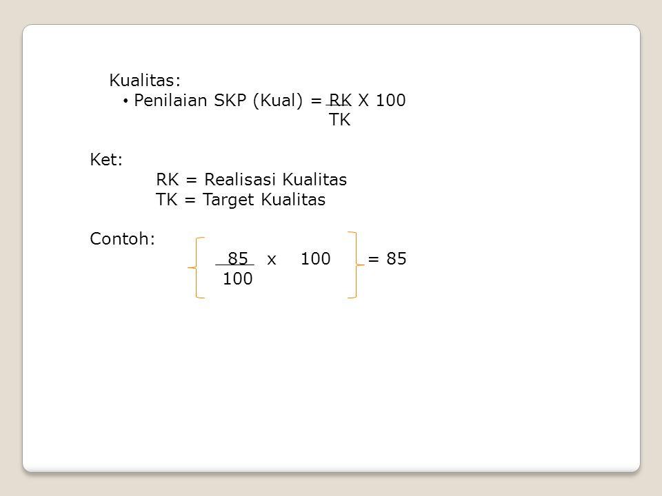 Kualitas: Penilaian SKP (Kual) = RK X 100. TK. Ket: RK = Realisasi Kualitas. TK = Target Kualitas.