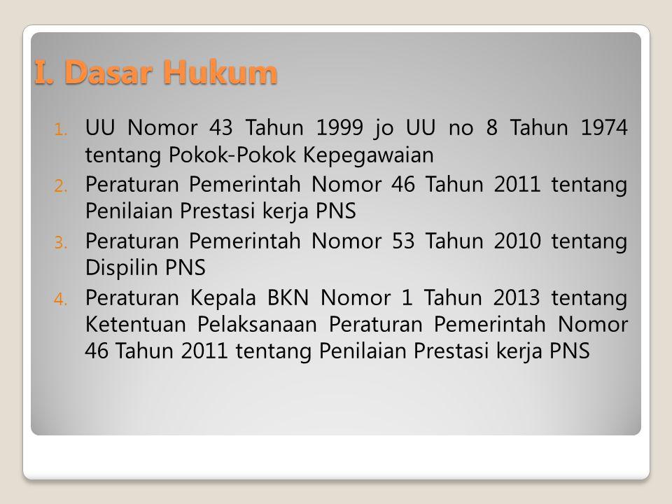 I. Dasar Hukum UU Nomor 43 Tahun 1999 jo UU no 8 Tahun 1974 tentang Pokok-Pokok Kepegawaian.