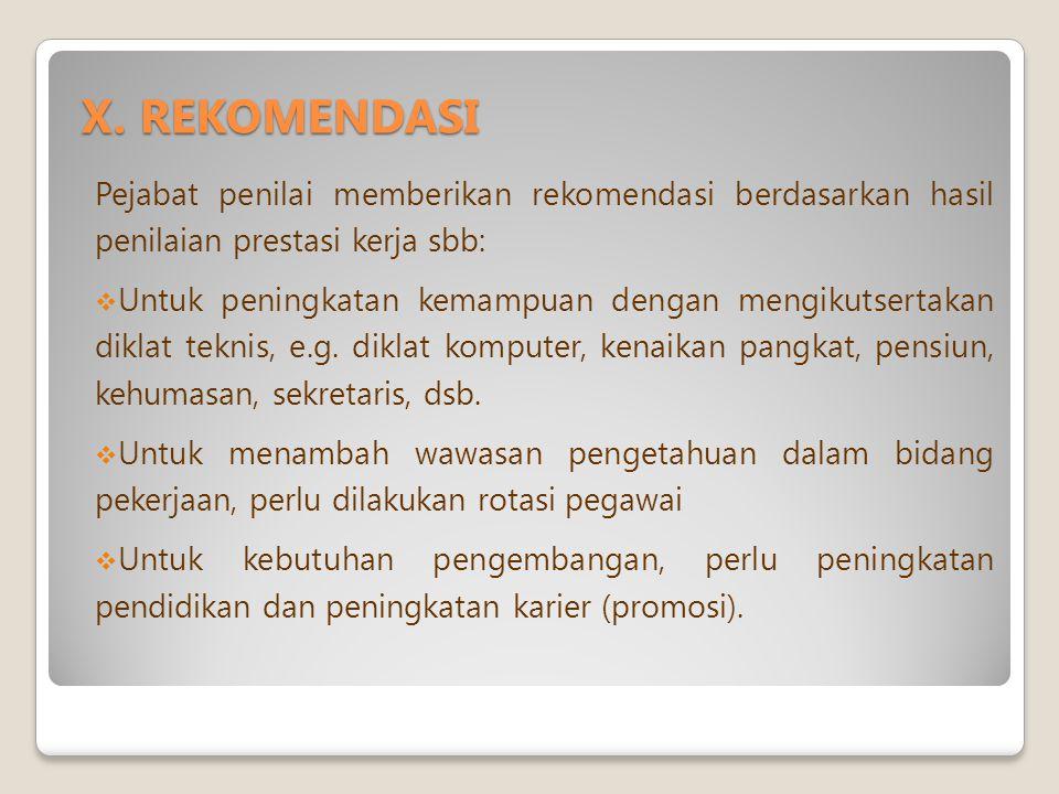 X. REKOMENDASI Pejabat penilai memberikan rekomendasi berdasarkan hasil penilaian prestasi kerja sbb: