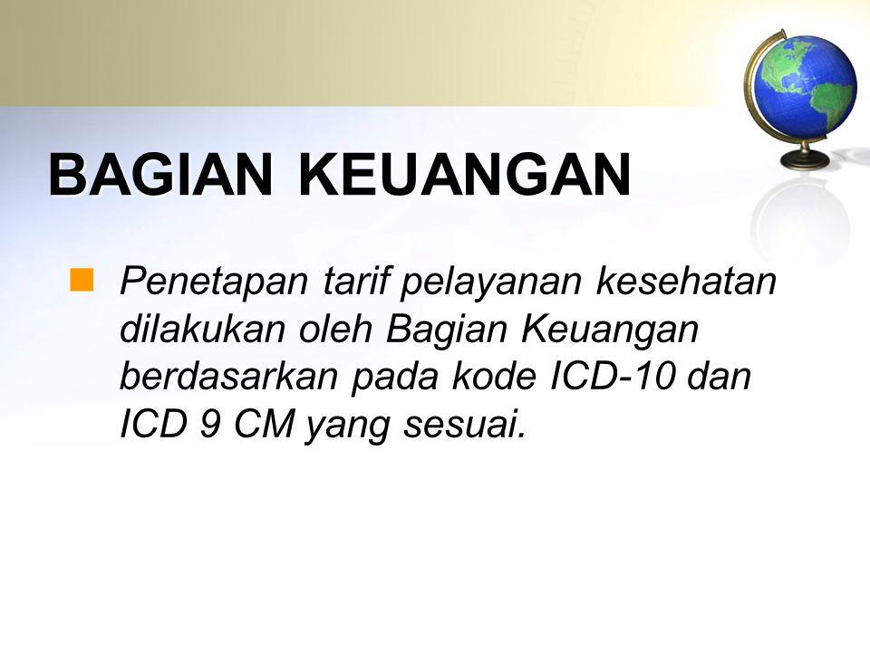 BAGIAN KEUANGAN Penetapan tarif pelayanan kesehatan dilakukan oleh Bagian Keuangan berdasarkan pada kode ICD-10 dan ICD 9 CM yang sesuai.