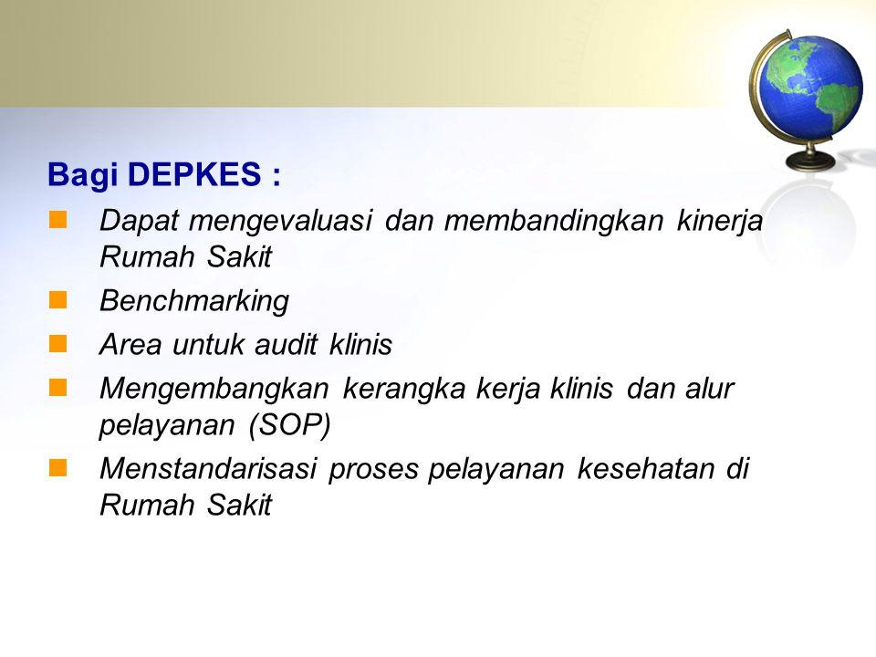 Bagi DEPKES : Dapat mengevaluasi dan membandingkan kinerja Rumah Sakit