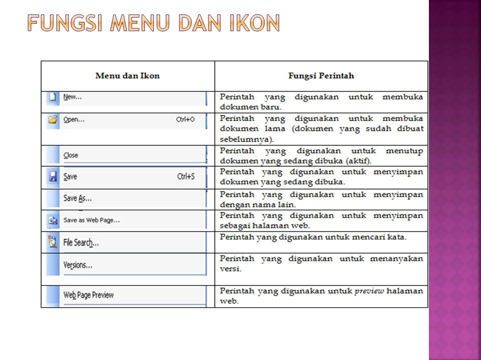 Fungsi menu dan ikon