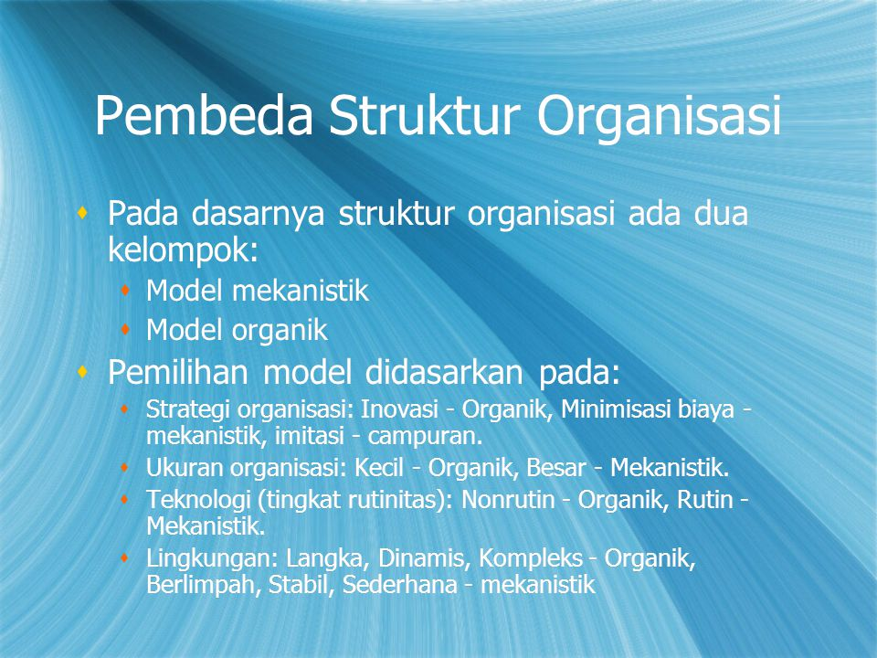 Pembeda Struktur Organisasi