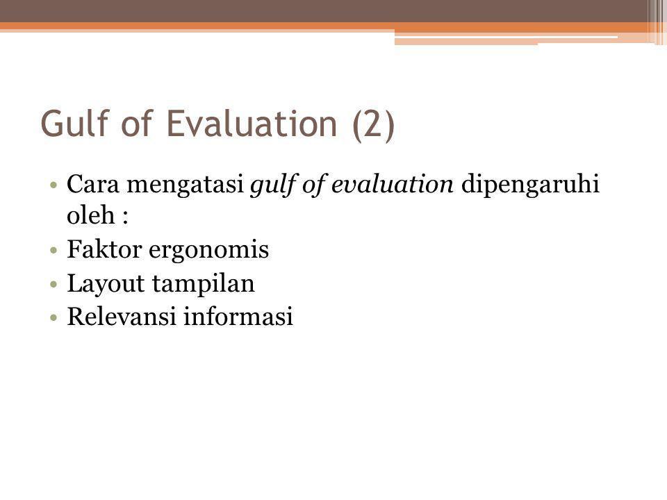 Gulf of Evaluation (2) Cara mengatasi gulf of evaluation dipengaruhi oleh : Faktor ergonomis. Layout tampilan.