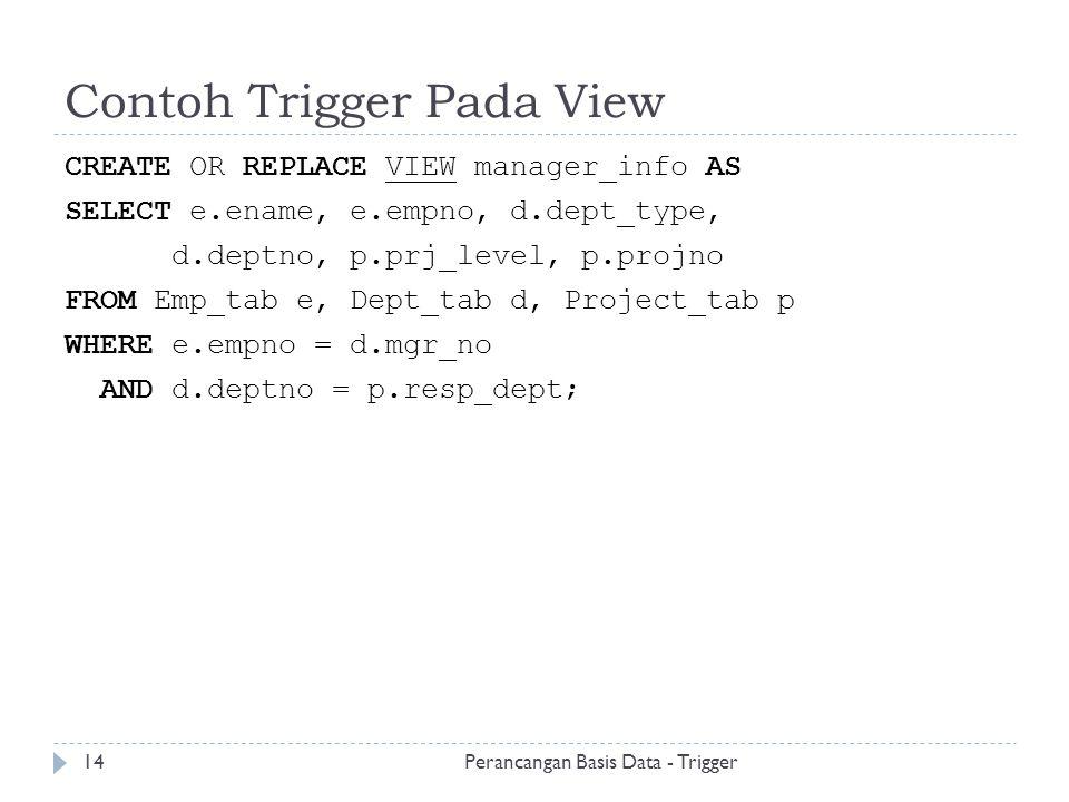 Contoh Trigger Pada View