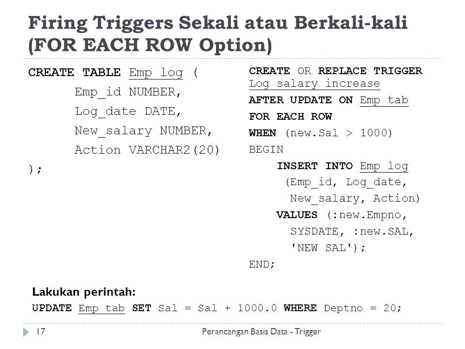 Firing Triggers Sekali atau Berkali-kali (FOR EACH ROW Option)