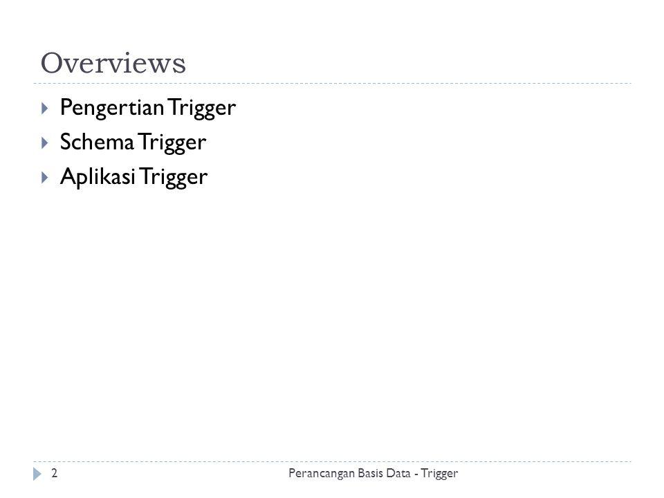 Overviews Pengertian Trigger Schema Trigger Aplikasi Trigger